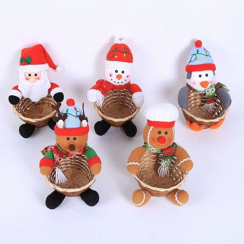Christmas Candy Storage Basket Treat Holder Ornament Desktop Decoration Elk Snowman Santa Claus Event Party Supplies rYrR#