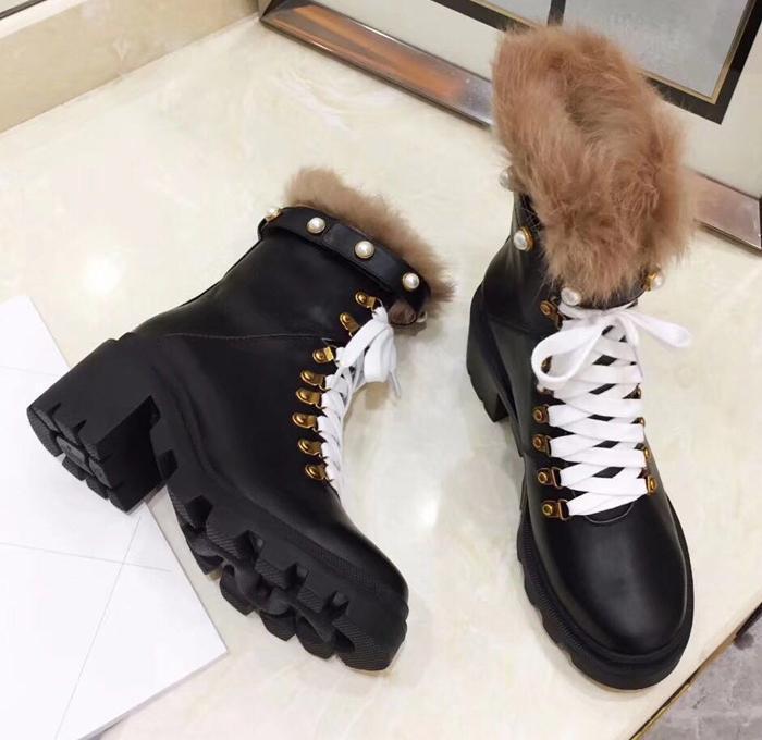 Arrival Women Boots Luxury Designer Sexy Thick Heel Desert Platform Boot Bee Star Genuine Leather Winter Shoe Size 35-42