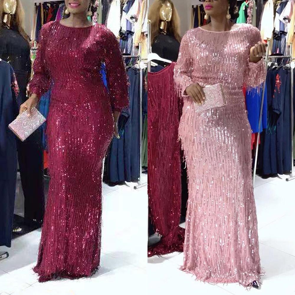 Uzun Kollu Denizkızı Pullarda Elbise Sonbahar Pırıltılı Şık Artı boyutu Parlak Parti Akşam Afrika Giyim Elbise Kadın Kat Uzunluk MX200804