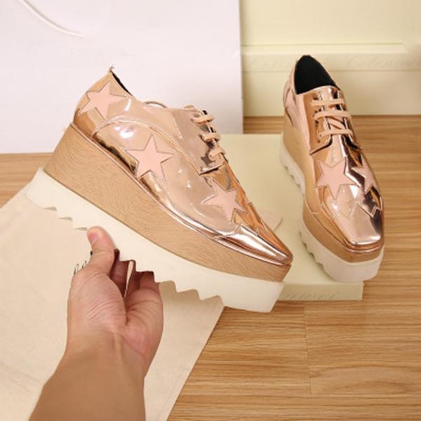 2020 Heißer Verkauf! Schuhe Top Qualitäts-echtes Leder-Frauen arbeiten Plattform-Keil-Plattform Oxfords Turnschuhe TA12