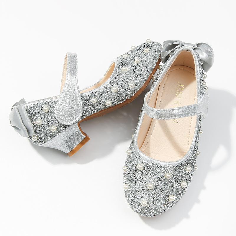Kinder Shoes2020 neue Art-Mädchen-Kristallprinzessin Schuhe Kinder Performance-Kristall-Absatz Große Kinderschuhe
