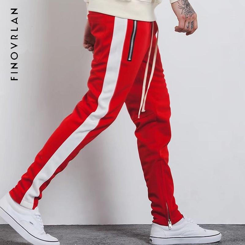 남성용 바지 2021 패션 휘트니스 남성 캐주얼 바지 장착 지퍼 스트리트 착용 힙합 스트레이트 맨