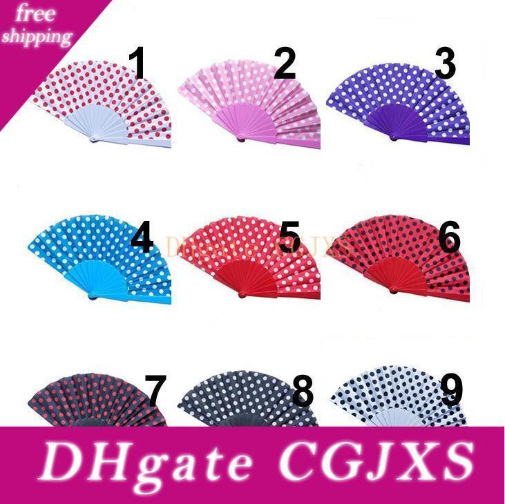Pois design fans main espagnol Style de Folding Fans pour Favors Wedding Party cadeau avec 9 couleurs disponibles LX1570