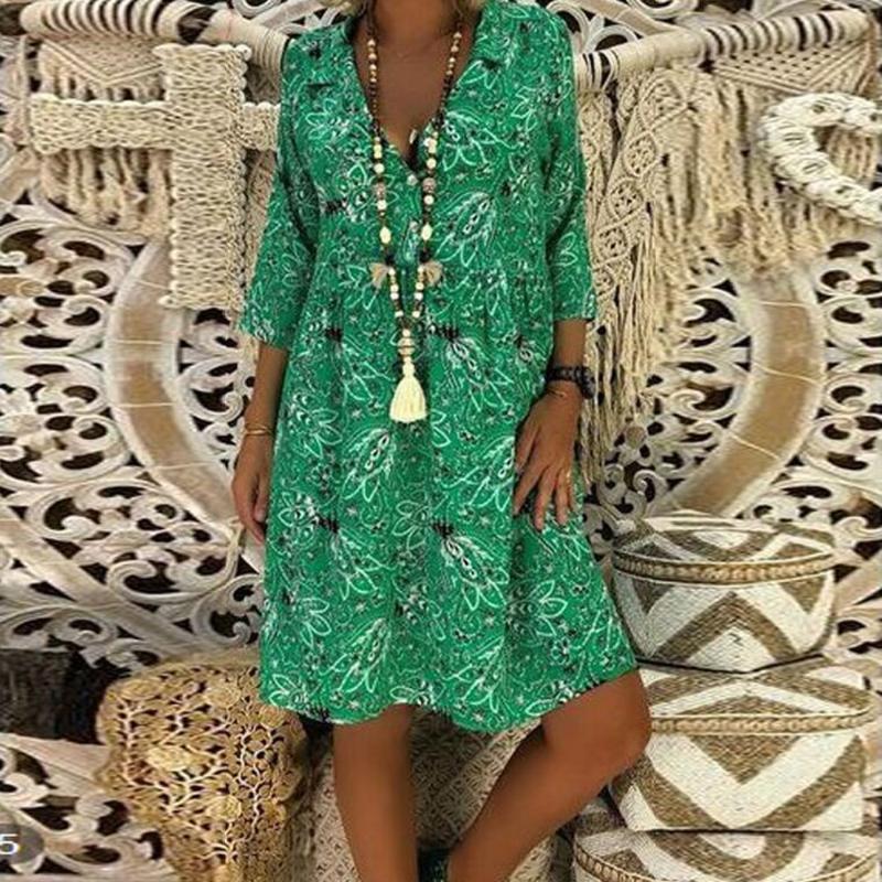 Robe d'été Holiday Beach Femmes Mode Grande Taille Loose Fit manches 3/4 pour femmes Robes simples Lapel