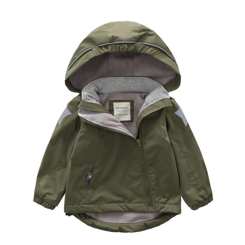 Çocuklar Polar Ceket Su geçirmez Dış Giyim Sonbahar Kış Erkek Kız Isınma Kapşonlu Coat Çocuk WINDBREAKER Fermuar Kabanlar 8 yaşında CX200727