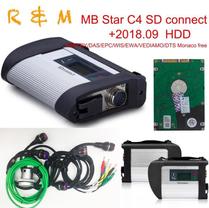 MB STAR C4 étoiles scanner de diagnostic mb testeur c4 sd multiplexeur connexion DAS Xentry wis logiciel sd epc vediamo navire gratuit
