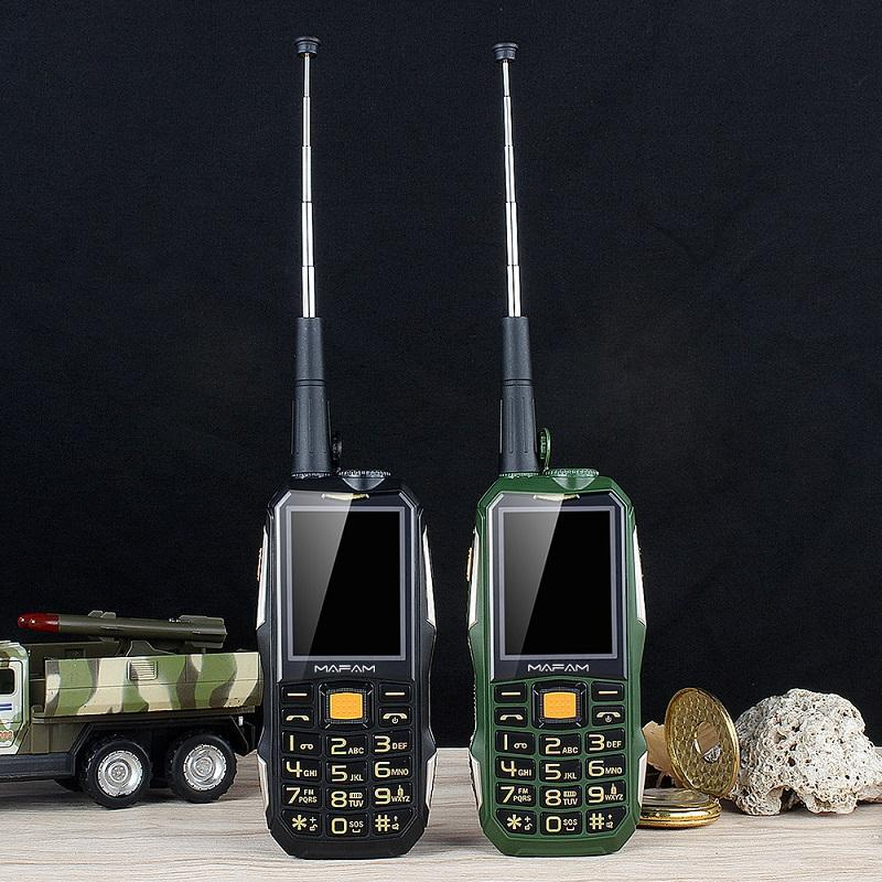 Teléfono desbloqueado Mafam M2 + resistente a prueba de golpes al aire libre móvil con UHF hardware Intercom walkie talkie clip de la correa el Powerbank Facebook Celular
