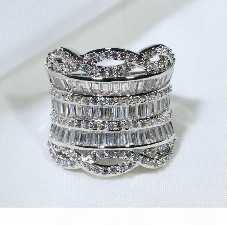 E Luxe Bijoux Unique Argent 925 Plein Stack 5a Zircon diamant Cz large Parti anneaux femmes Wedding Band Finger Band Rin
