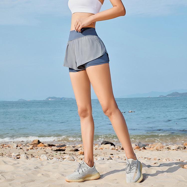 طماق Yogaworld الإناث الملابس اليوغا السراويل اللياقة البدنية ممارسة الجري في الهواء الطلق وهمية اثنين من السراويل الجافة الأسود الرمادي الوردي