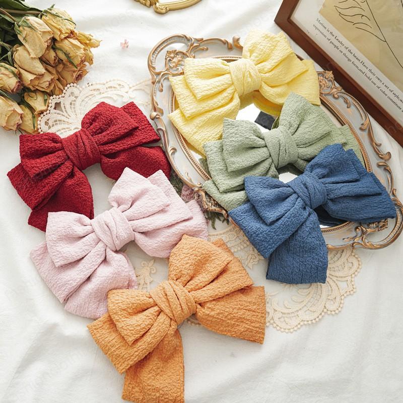 موضة جديدة الطيات القماش حلوى حلوى الألوان الشيفون كبير القوس دبوس ربيع كليب المشابك المرأة شعر البنات accessoriesr أغطية الرأس