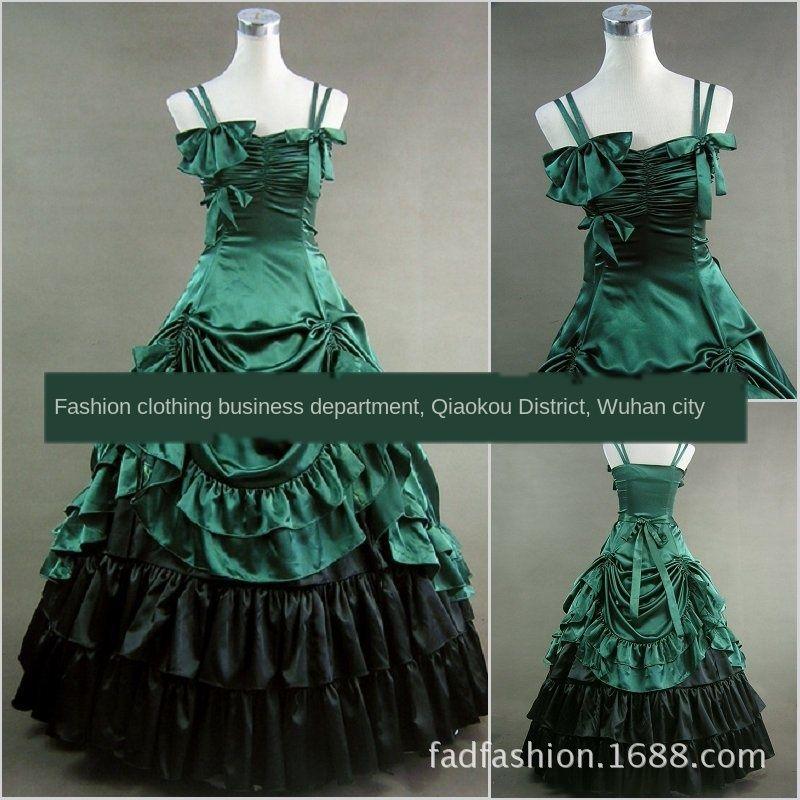 lJF7O vert foncé salopette épaisse d'une seule pièce Luo Lita longue lolita Liqun satin jupe robe robe longue jupe