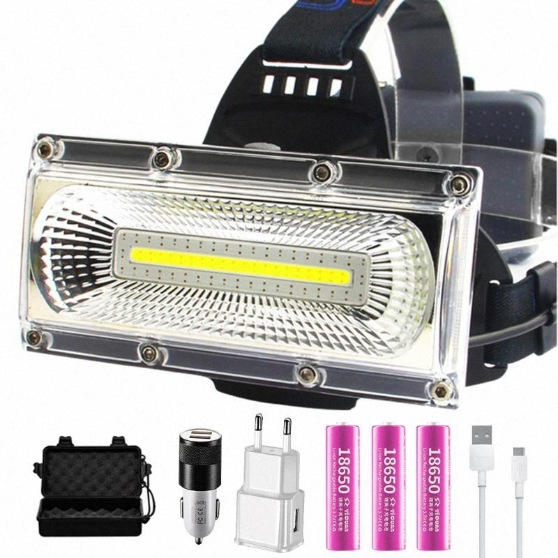 Floodlight COB LED Headlamps Waterproof Working Head Lamp 3Modes Head Lantern 3*18650 Rechargeable Frontal HeadLamp LQhP#