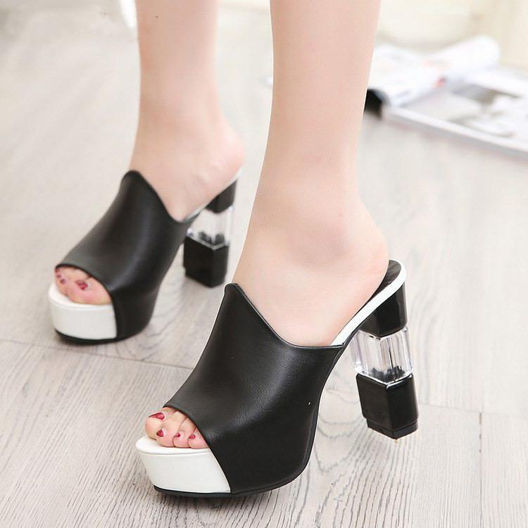 les femmes élevées d'été de plate-forme talons sandales chaussures à bout ouvert pantoufles talon transparent femmes chaussures d'été haut talon 41 42