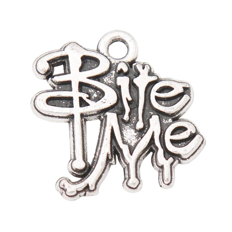 Wholesale Antique Silver Plated Vampire Message Charms Bite Me Letter Charms For Jewelry Making 16*18mm AAC760