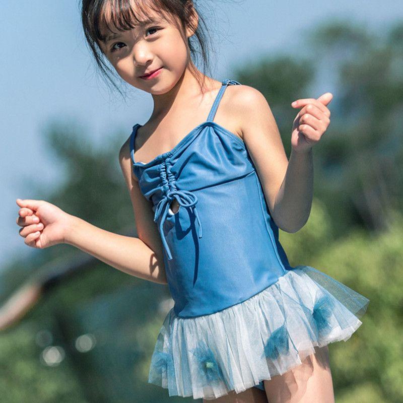 الطفل المايوه قطعة واحدة 2020 ملابس الطفل الفتيات المايوه الأزرق بدلة السباحة للفتيات السباحة اللباس شاطئ ارتداء الأطفال