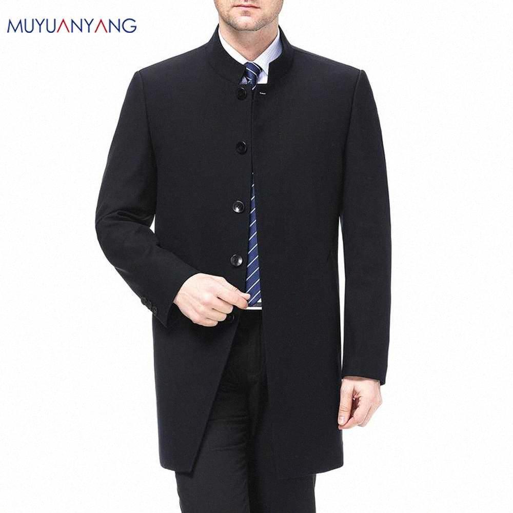 Cinese collare Giacca per gli uomini nuovi Collare del mandarino Slim Fit Blazer Maschio sposa Giacche di alta qualità 4XL grandi dimensioni qxNG #