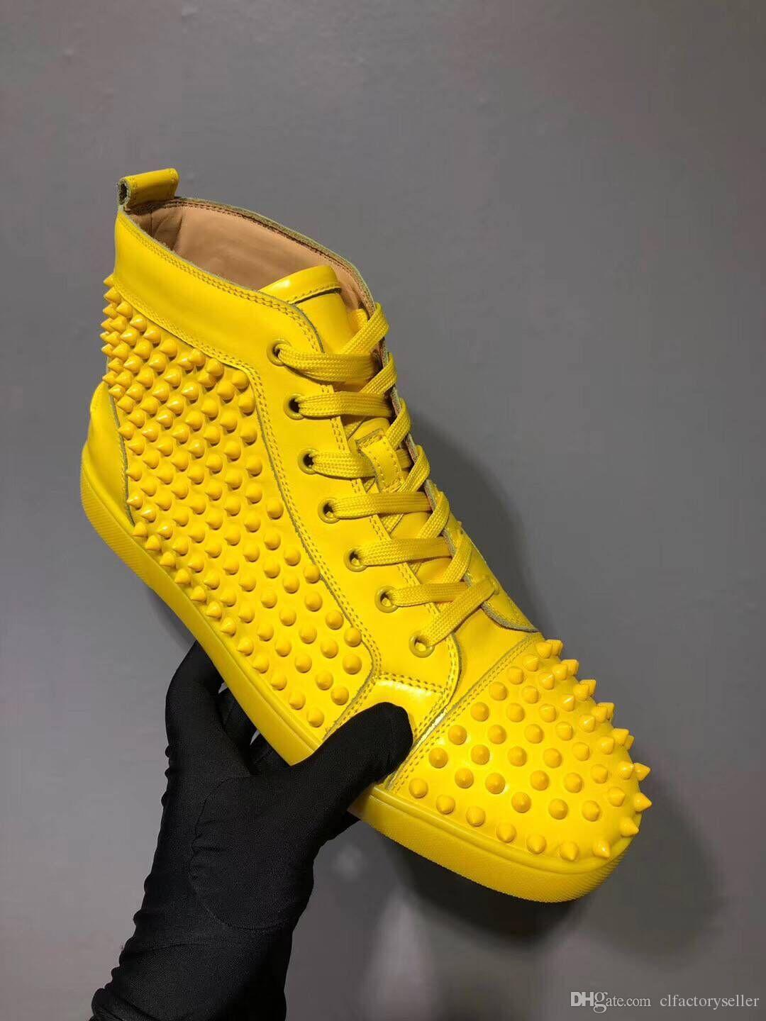 High Quality Yellow Leather Flat Mens
