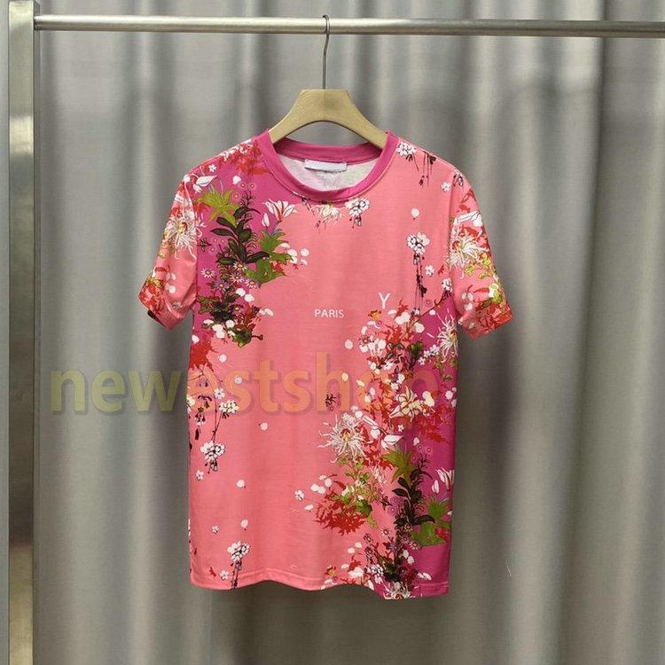2020 Frühling, Sommer, Europa Frankreich Paris-Blumen-Druck-T-Shirt Mode-T-Stück Männer Frauen beiläufige Buchstaben drucken Baumwolle T-Shirt atmungsaktiv T-Shirt