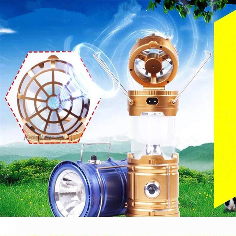 Summer LED Solar Power Outdoor Camping Lamp with Fan Hanging Portable Tent Telescopic Emergency Lamp Hand Lantern Light