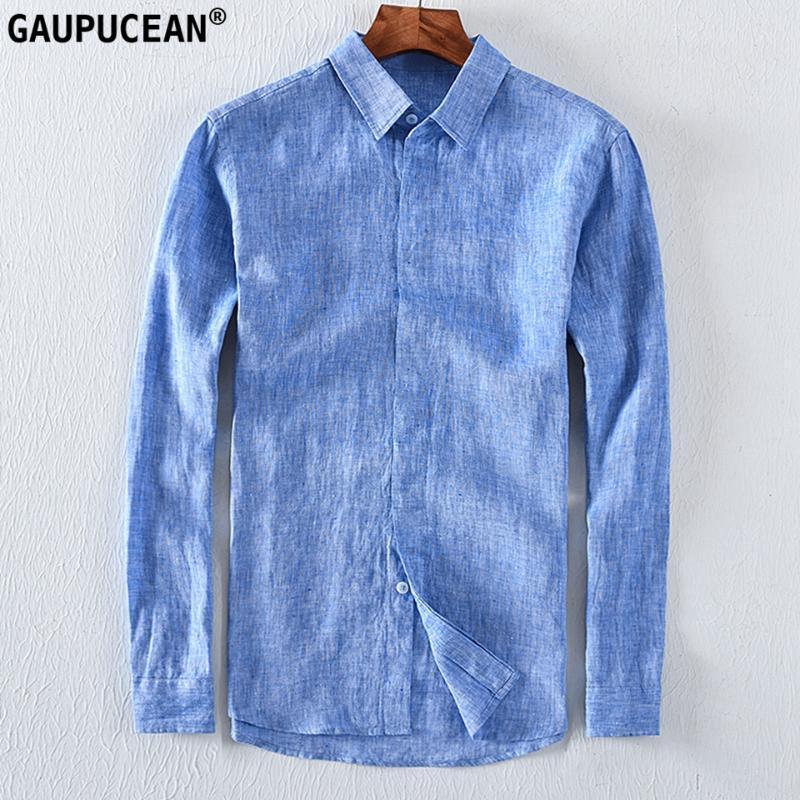 100% Leinen kühl und trocken schnell Breathable Anti-Statik-Anti-Strahlung Langarm-Mann Hemden Qualität Blue Sommer Flachs-Mann-Hemd