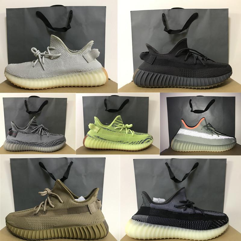 En Ayakkabı Curuflu Siyah Statik Yansıtıcı 2.0 Toprak Kükürt Kuyruk Işık Kanye West Sneakers ile ShoppingBag BOX Sport Sneakers 36-48 Koşu