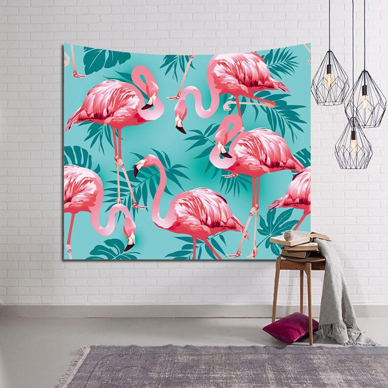 tenture tropical flamenco decoración de la pared de la selva hojas de las plantas tapiz que cuelga de poliéster impresa fondo de la fauna de la tela del arte