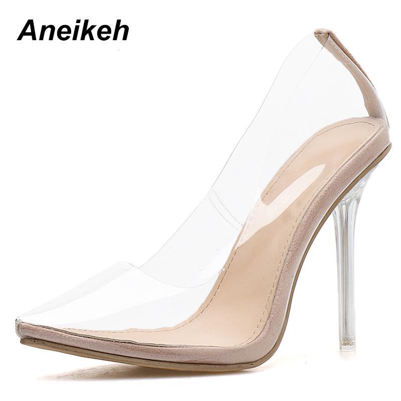 Aneikeh 2020 Concise Moda Donna PVC trasparente sandali sottile alti calza a punta Pompe Slip On Solid albicocca 35-42 CX200715