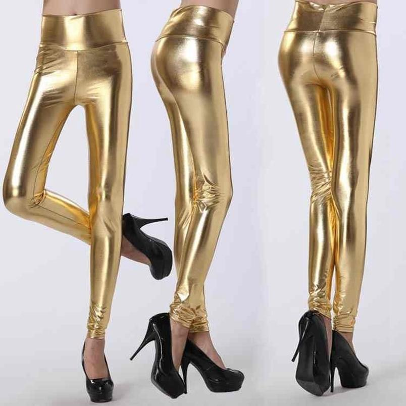 Lady Stretched High Waist Fashion Street-Gamaschen-Frauen feste silberne goldene reizvolle Hosen-Lederimitat-Kostüm Legging