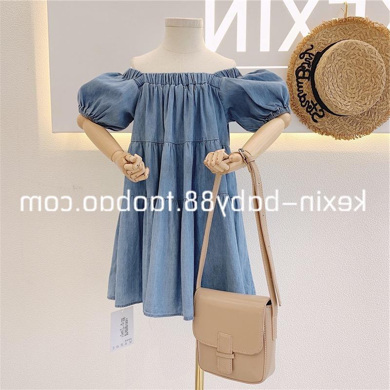 INS Summer Autumn Little Girls Denim Dresses Lovely Short Sleeve Great Quality Designer Children Princess Dress Bountique Clothes