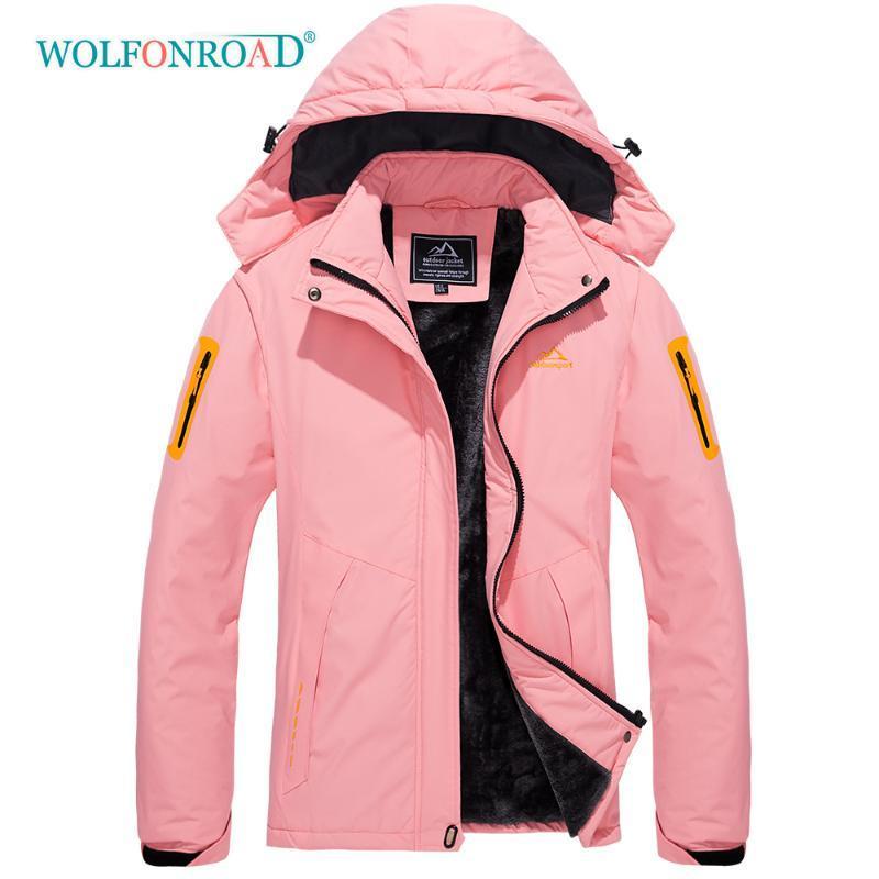 Térmica Jaqueta de lã WOLFONROAD Mulheres de Outdoor Caminhadas Camping Waterproof Escalada Casacos de Inverno Ski Coats Mulheres Rosa Casaco