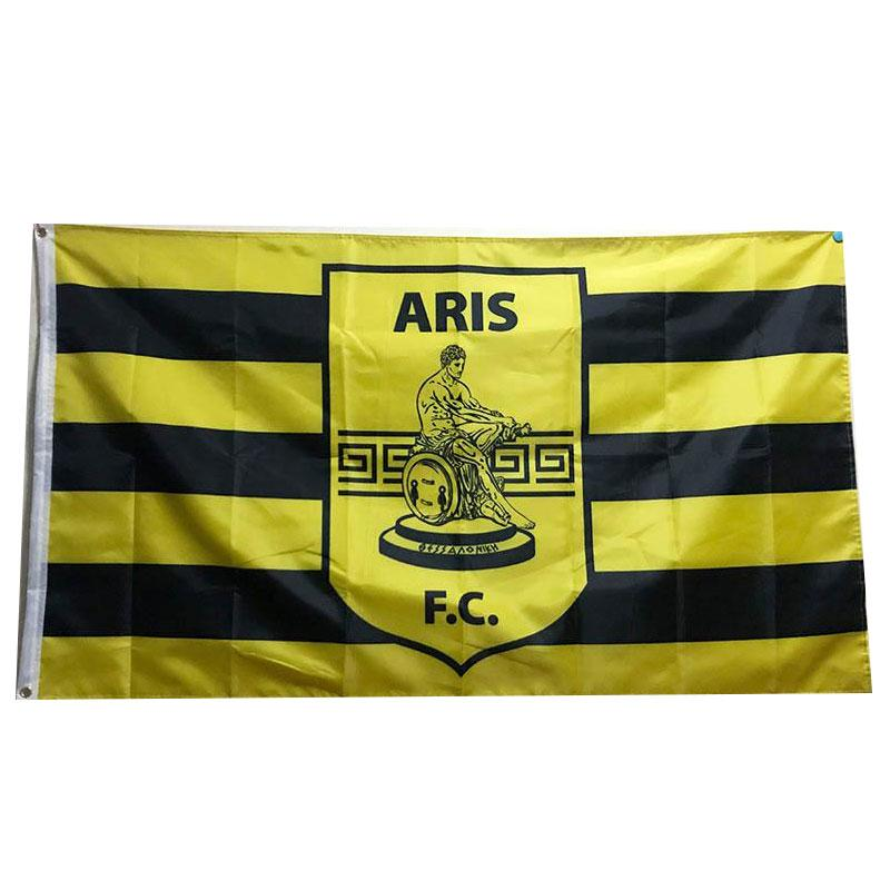 Греция Арис Фессалоники Флаг 3x5ft 150x90cm 100D полиэстер спортивная команда клуба Открытый Висячие Free Fast Shipping