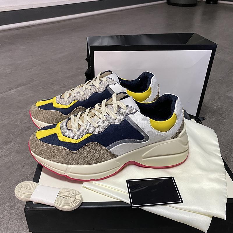 BOX와 여성 Rhyton 스니커즈 남성 신발 고품질 진짜 가죽 플랫폼 스니커즈 트레이너 인쇄 올드 아빠 신발 큰 크기