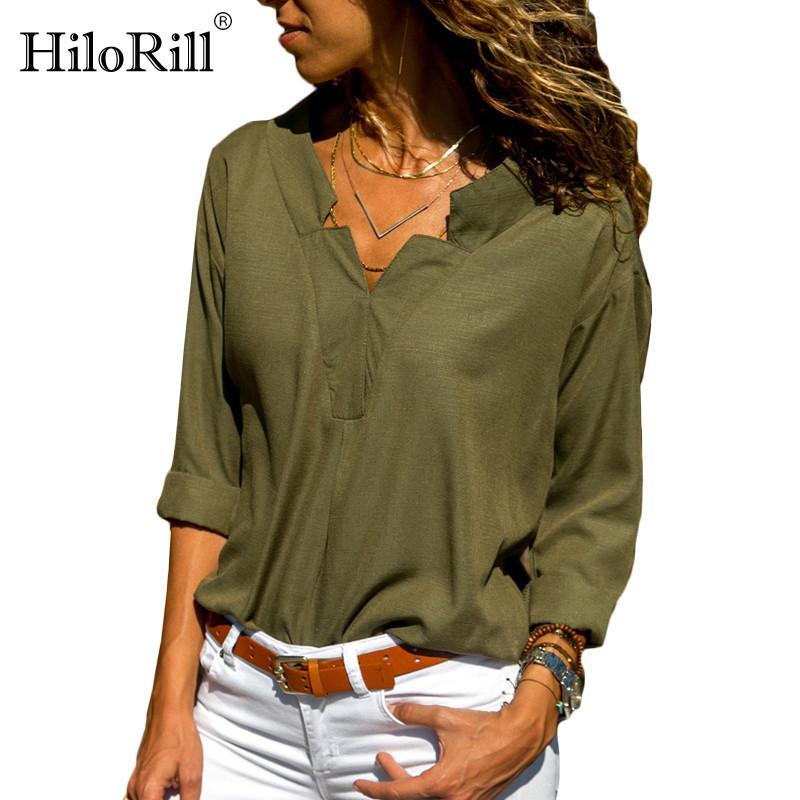 HiloRill Herbst-Frauen-Bluse Shirt Sexy V-Ausschnitt Langarm-Bluse Top Office Damen-lässige Shirts Tuniken Blusa plus Größe 3XL