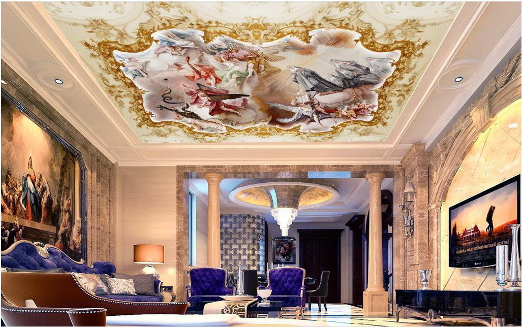 3D sur mesure Photo Wallpaper 3D romantique Ange dieu dieu salon mythique personnage zenith Papiers peints au plafond 3D Home Decor
