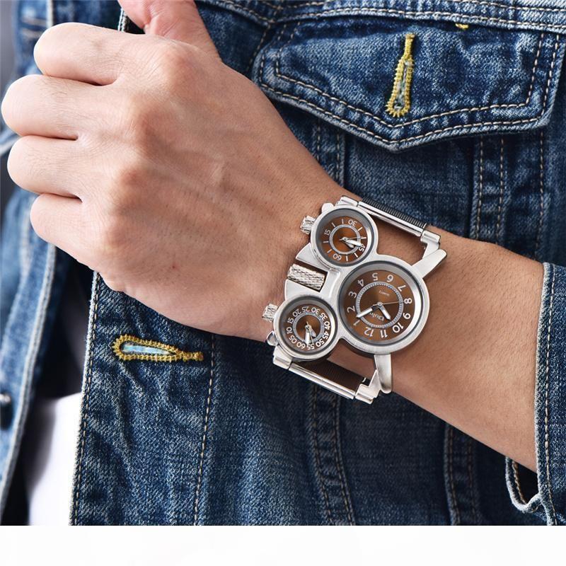 Oulm Mesh-Stahl 1167 Modell Herrenuhr 3 Farben 3 Zeitzone Einzigartige Male-Quarz-Uhr-beiläufige Sport-Mann-Armbanduhr reloj hombre