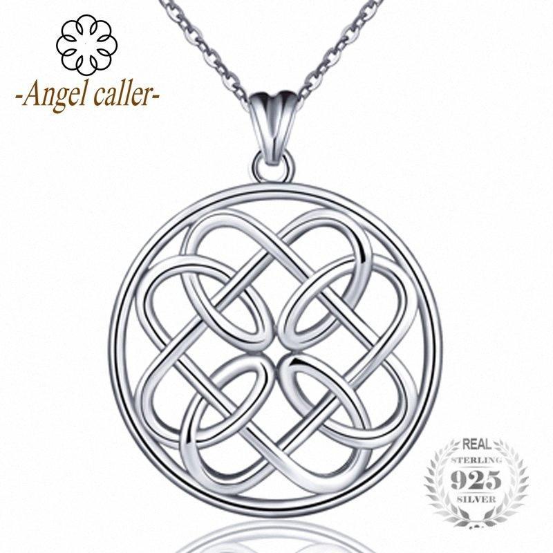 Anjo Caller 925 100% Sterling Silver Infinito Entrar Jóias Pingentes Colar Original Rodada Knot Choker mulheres Fine Jewelry oqjg #