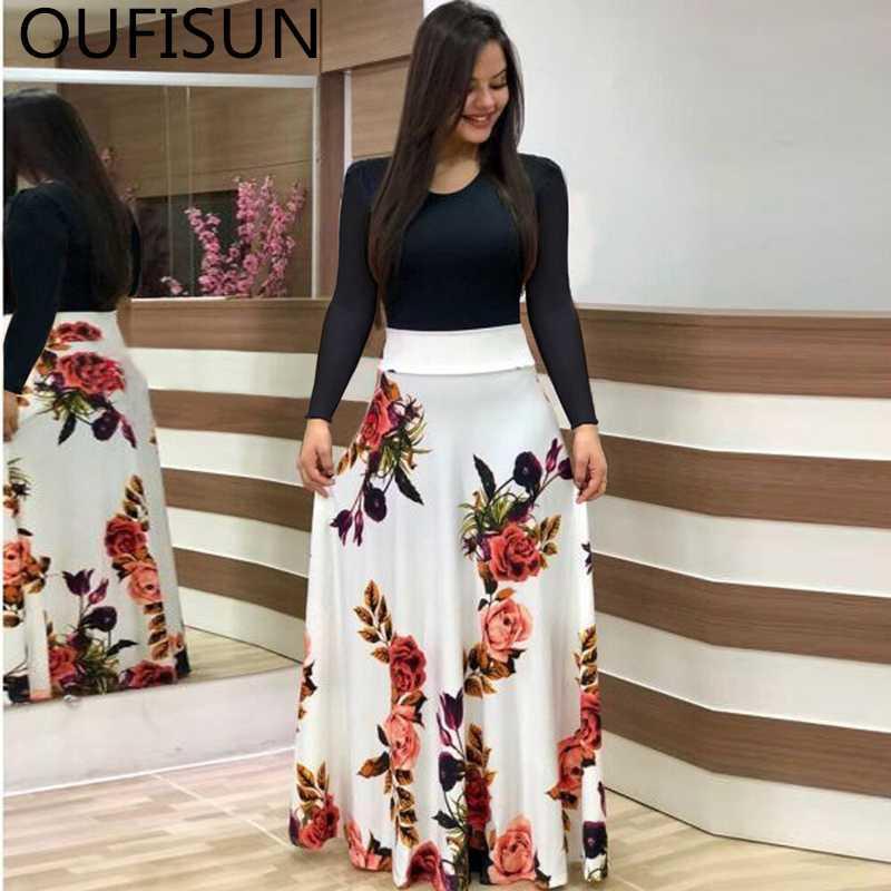 Oufisun Summer Casual Полный рукавом Тонкий Длинные платья способа O-образным вырезом печати платье партии Vintage женщин платья Vestidos Плюс Размер 5XL