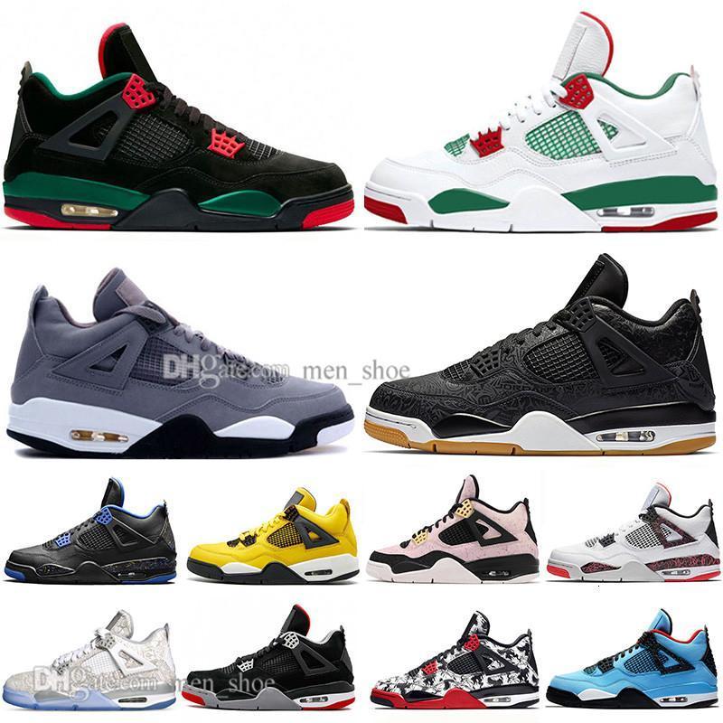 İndirim 4 4s ne Cactus Jack Lazer Wings Erkek Basketbol Ayakkabı Kot Mavi Soluk Citron Erkekler Spor Tasarımcı Sneakers 5,5-13 Bred En Yeni
