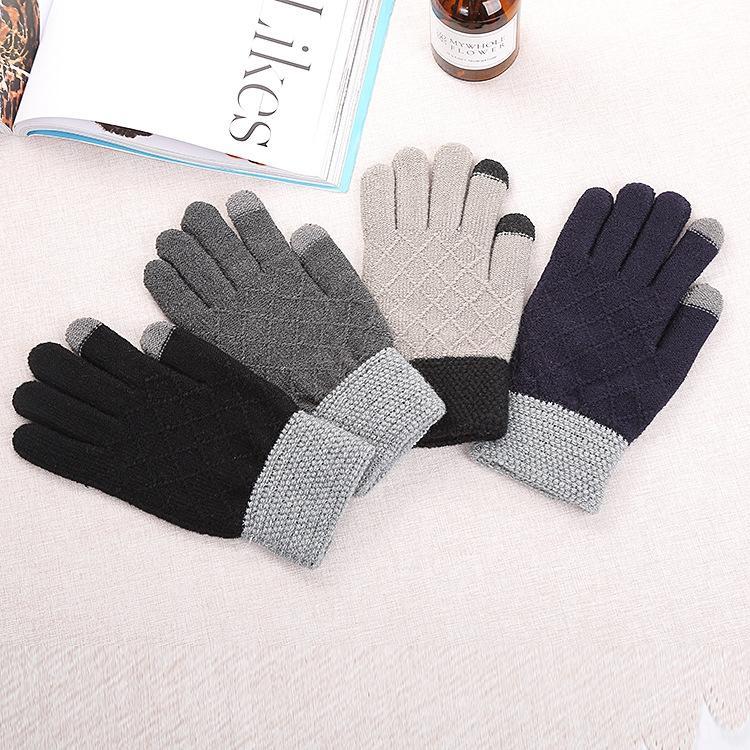 dedo de la pantalla táctil color a juego TtKJd de los hombres de invierno al estilo coreano cepillado espesa guantes calientes guantes de punto jacquard cálida lana y Atmos