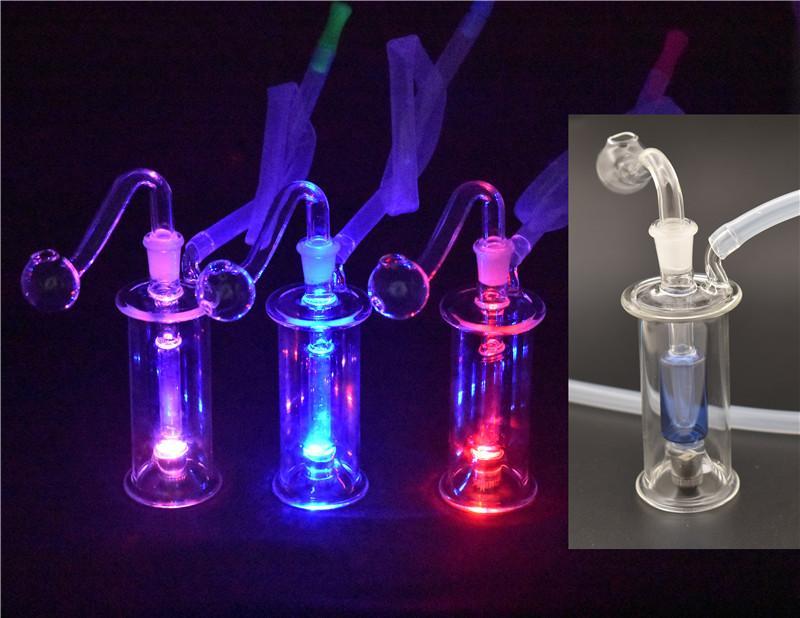 мини-Dab нефтяных вышек LED стекло Бонги 10мм Joint Внутренняя Honeycomb Проц стекла аромалампы Водопроводные трубы с горшка масла и шланг