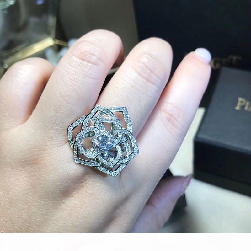 Роскошный Известный Классический S925 Sterling Silver Полный Кристалл Hollow розы Большой Обручальное кольцо для женщин ювелирные изделия