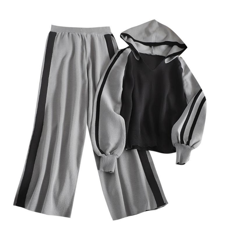 moda esportiva de rua vento camisola com capuz estudante terno feminino solta outono novas casuais calças de pernas largas de duas peças