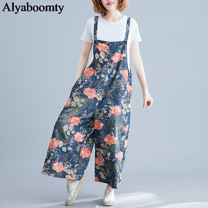 New Plus Size Verão Mulheres Macacões Suspensórios fino de algodão floral impresso perna larga Calças Vintage elegante bolsos soltos Macacões
