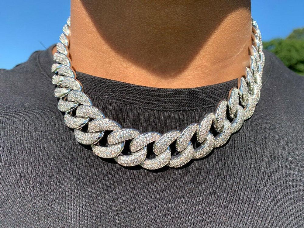 15 ملليمتر مثلج ميامي كوبي ربط سلسلة الماس قلادة 14K الذهب الأبيض مطلي مكعب زركونيا مجوهرات 7inch-24inch أفضل الهدايا