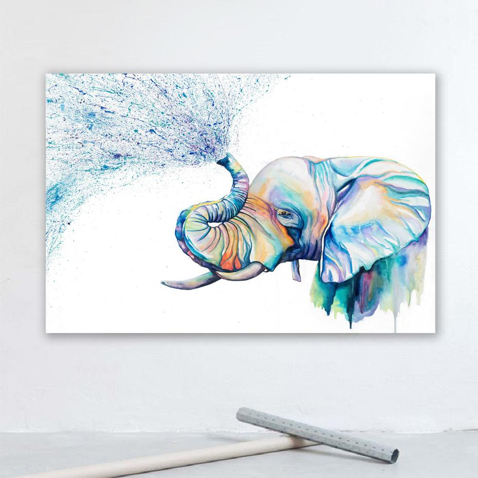 Drucken Wasser-Farben-Elefant Leinwand Gemälde Tiere Wand-Deko Poster Dekorative Drucke besten Geschenke Wohnzimmer Wohnkultur