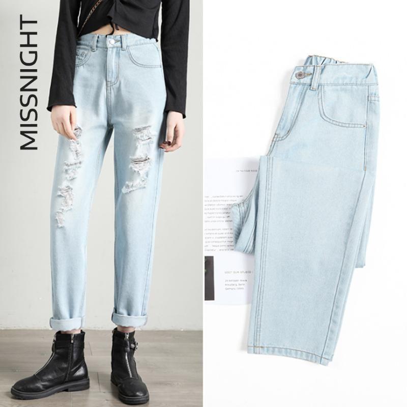 Missnight Jean İçin Kadınlar Delikler Anne Boyfriend Stil 4XL Yüksek Bel Gevşek Denim Uzun Pants 2020 Streetwear Casual tahrip Ripped