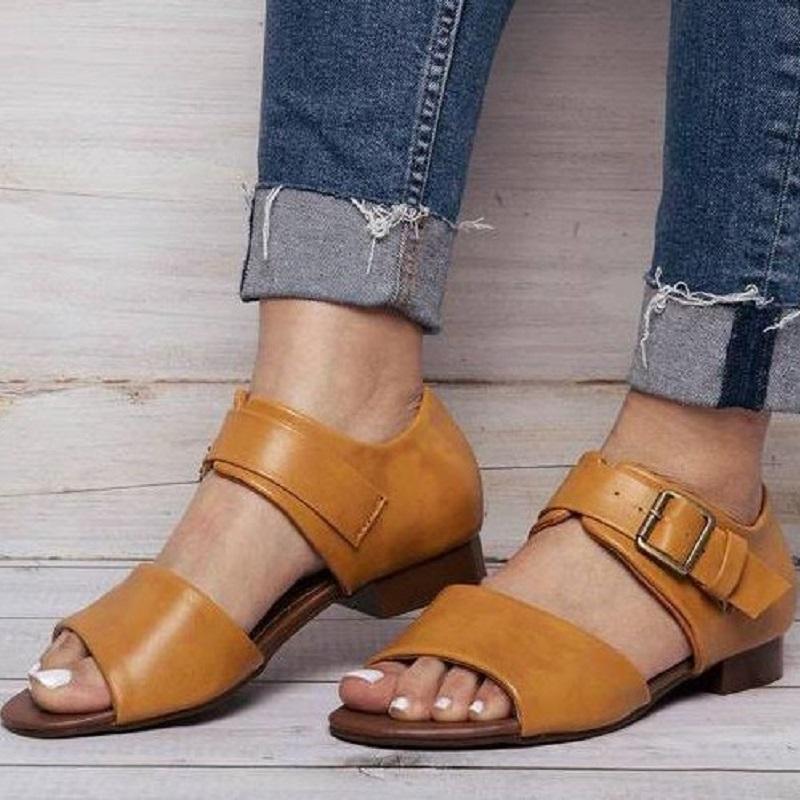 Лето Женщины гладиатор сандалии Pu кожа дамы плоский пляж Обувь Пряжка ремешка Open Toe римские сандалии большого размера Sandalias Mujer