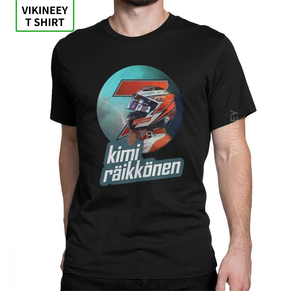 Man's Kimi Raikkonen T-Shirt Awesome Short Sleeves Iceman Legend Icon Racing Motor Car Tops Cotton Tees Plus Size T Shirts