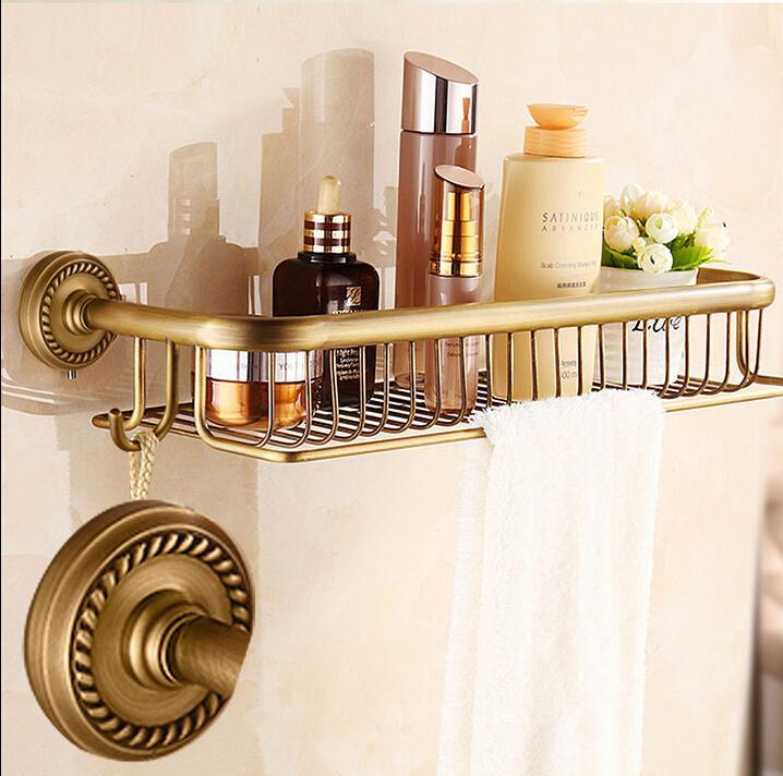 High quality New Arrivals total brass antique bathroom shelves with towel bar bathroom shampoo holder accessories