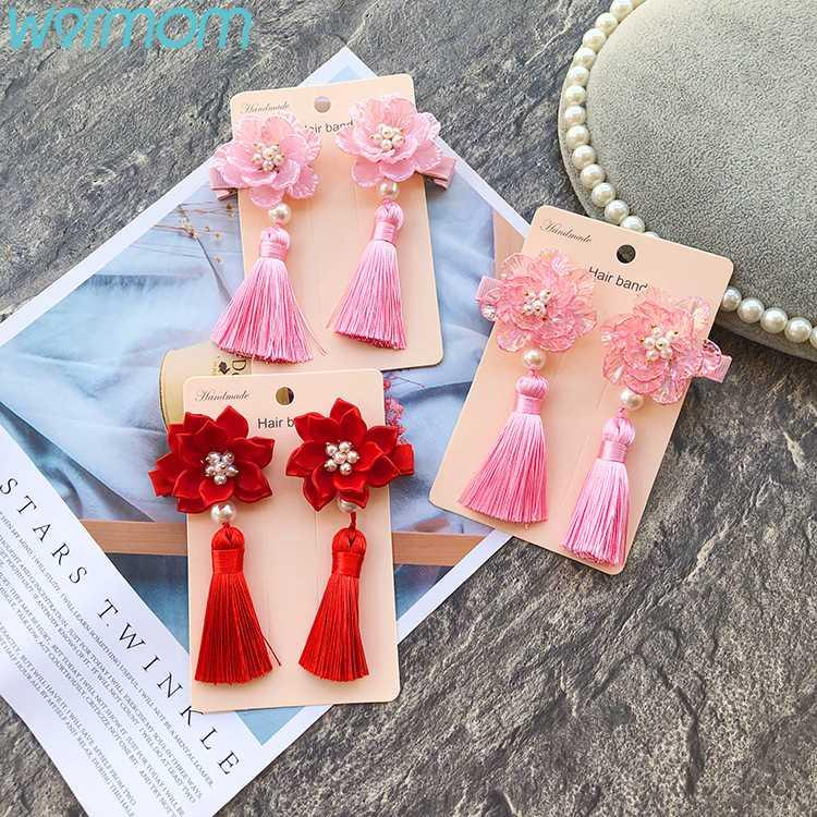 WARMOM 2PCS/Set Chinese Vintage Style Girls Hairpin Red Children Hair Accessories Tassel Bell Hairpin Maternal Infant Supply New